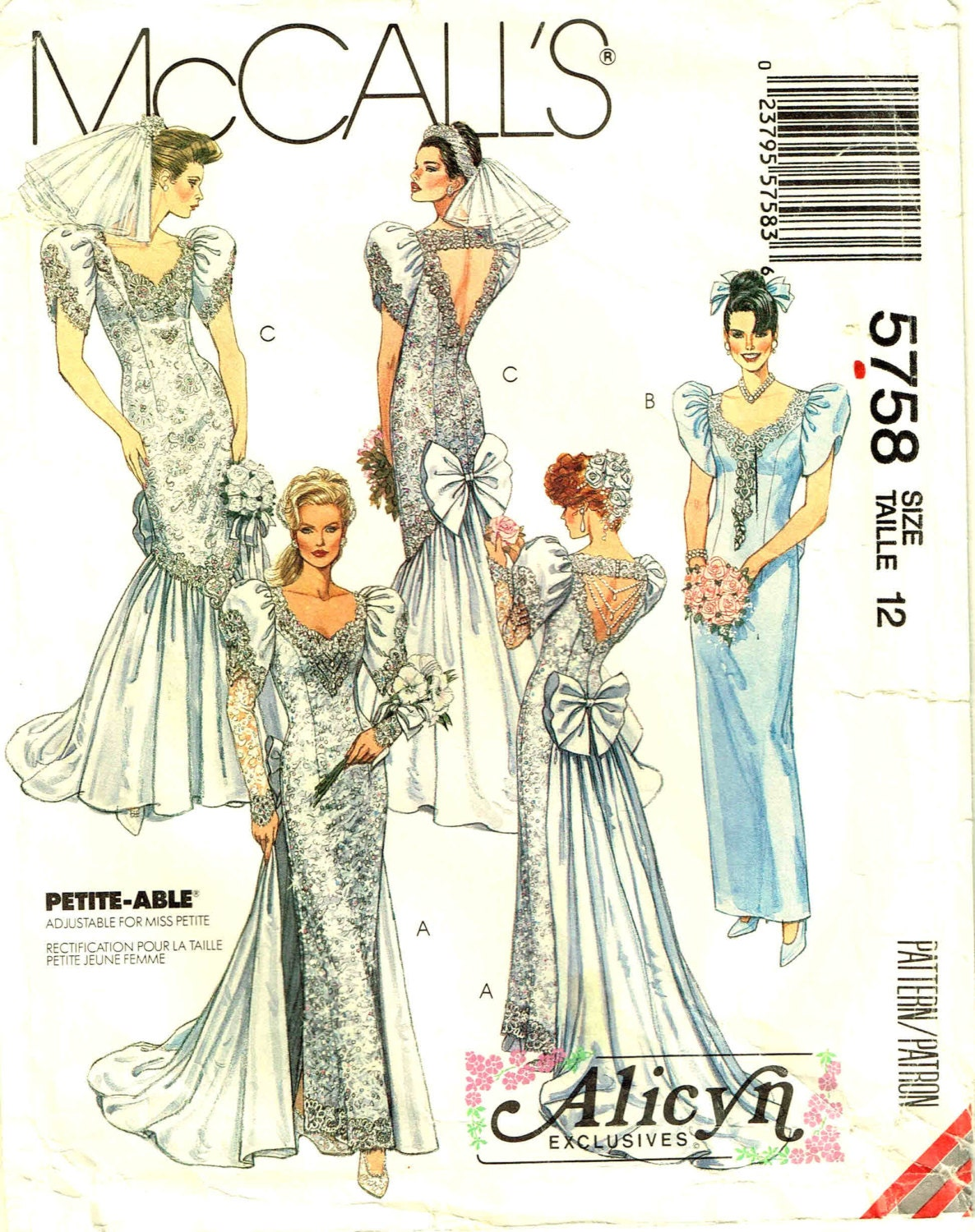 McCalls 5758 Wedding Gown Sewing Pattern Alicyn By PeoplePackages