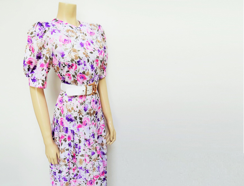 Vintage Dress 1980s Floral Pleated Dress Short Fitting Boho Midi Puff Sleeves Retro Dress Festival Dress White Dress UK12 US8
