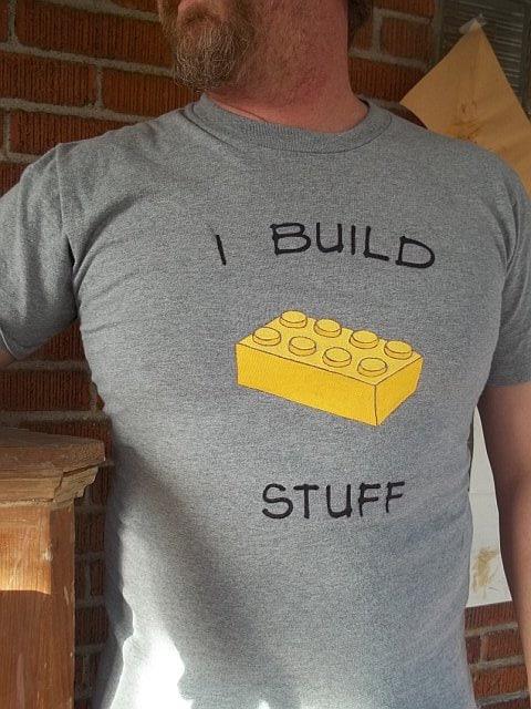 "Lego Block ""I Build Stuff"" Custom Tee - Free shipping USA - AngelLeighDesigns"