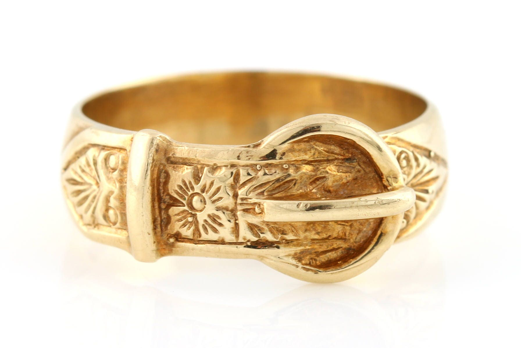 Beautiful 9ct Yellow Gold Victorian Buckle Ring  c1840 Antique 9ct Gold Buckle Ring Antique Gold Wedding Band Patterned Stacking Ring