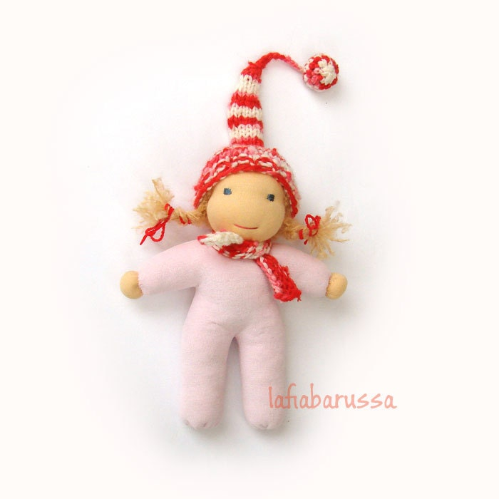 waldorf christmas elf baby pink body and striped hat red white, 10 inch,