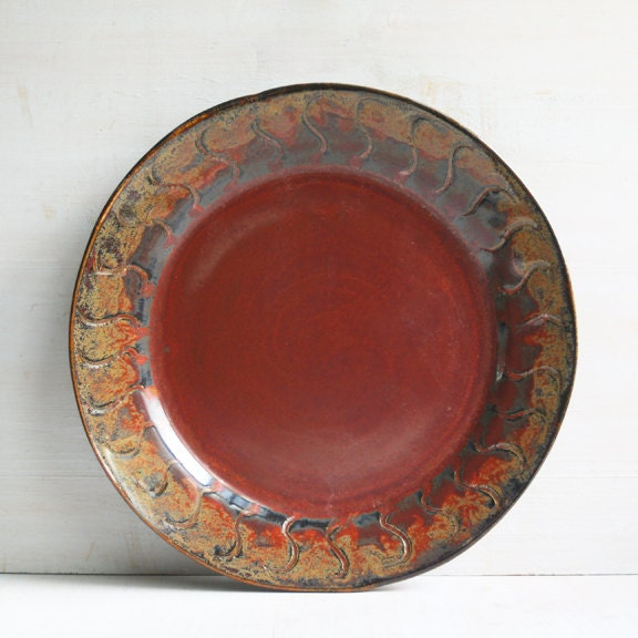Rustic Dinnerware Plate Red And Black Stoneware By Sheilasart