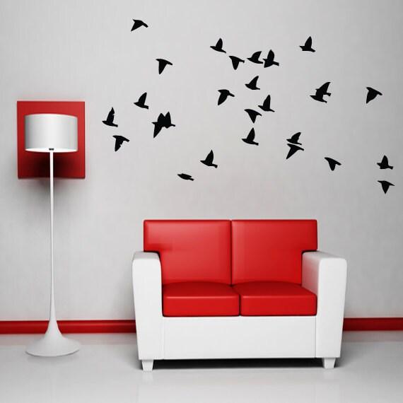 Flying birds wall art decor vinyl sticker dining by happywallz for Dining room vinyl wall art
