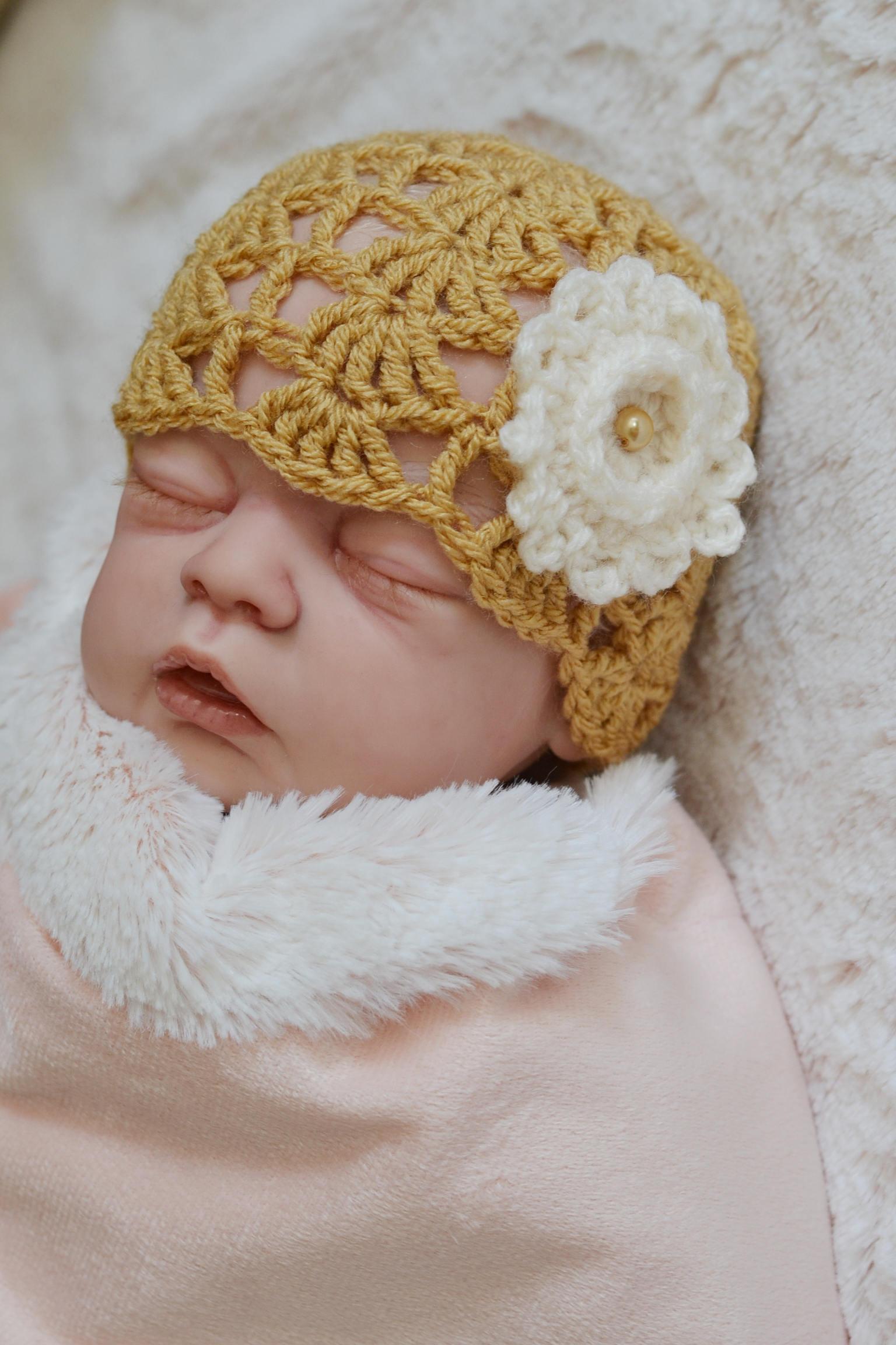 Baby Girl Newborn crochet Lacey Shell Summer Hat Flower Beanie Hat Photo Prop Hat