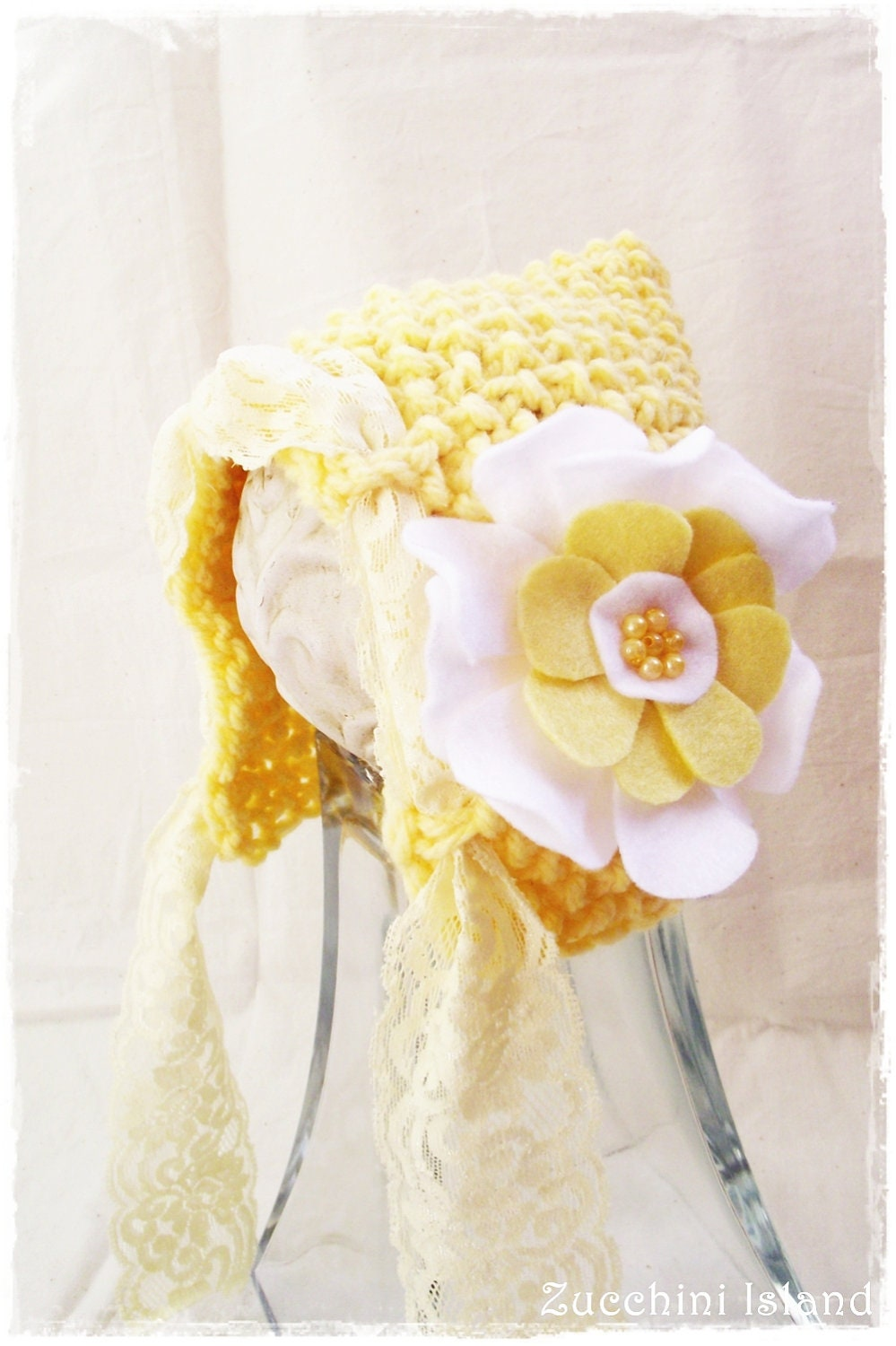 Yellow Baby bonnet, Nerwborn photo prop, Knit Baby Hat, Knit Pixie Hat, Photo props, Baby Girl Photography Props, Vintage Inspired, - ZucchiniIsland