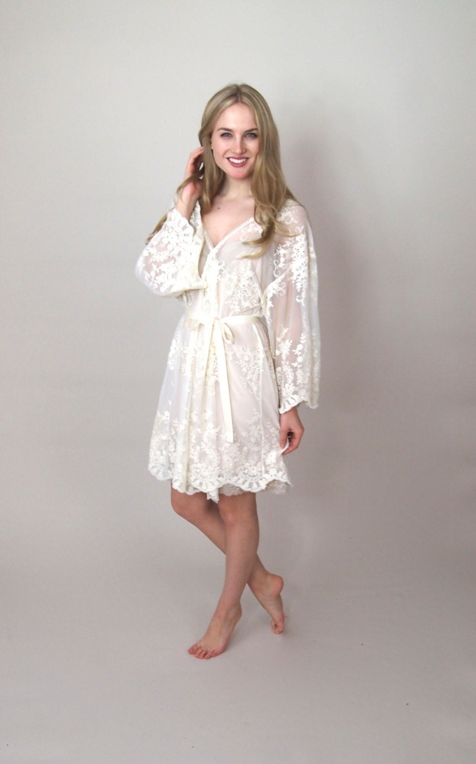 HELENA  Bride Robe  Guipiere lace lingerie kimono  bridal dressing gown  trousseau  lingerie  honeymoon lingerie  lace