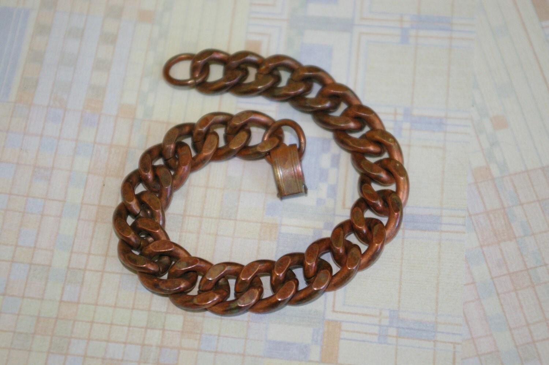 vintage copper thick curb link bracelet 1950 s by mostlyrenoir