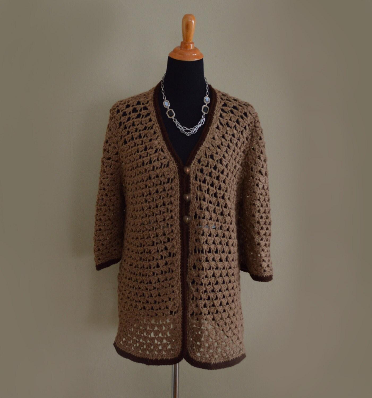 Elegant crochet sweater handmade women s m l fast free shipping