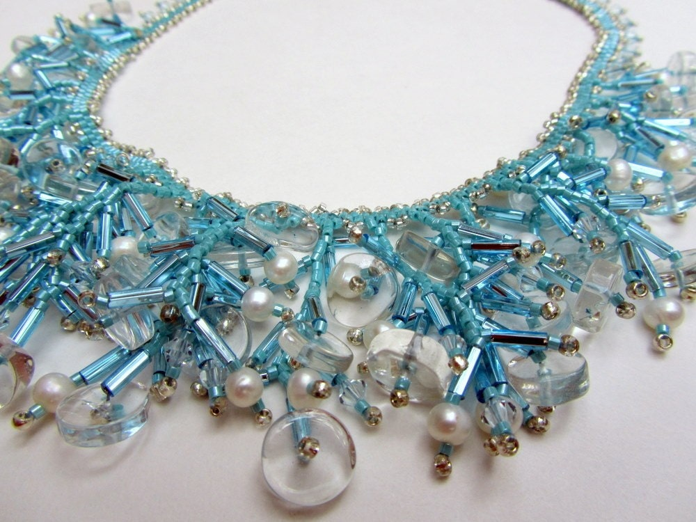 Statement Necklace, Aqua Seed Bead Necklace,   Unique Jewelry