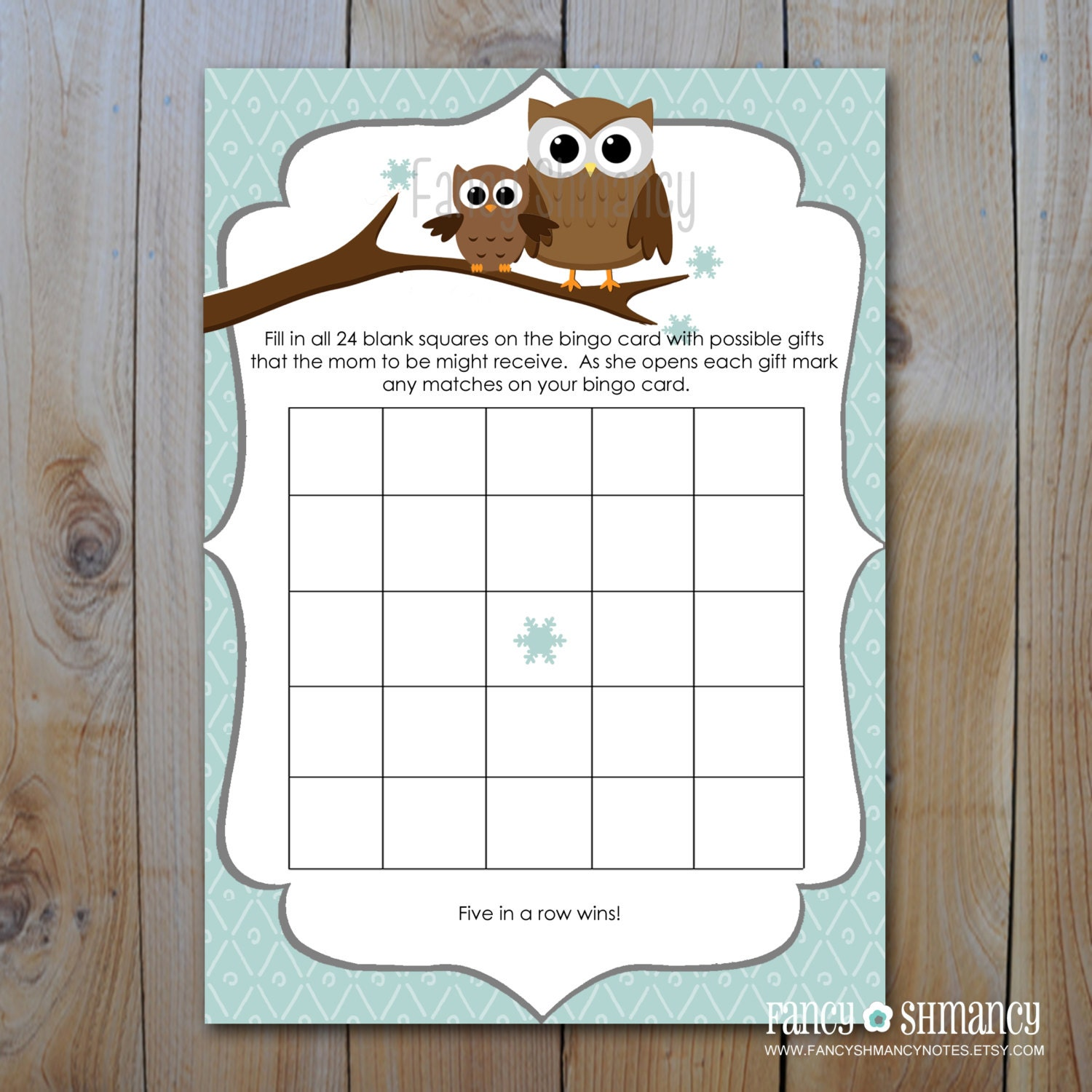 Items similar to INSTANT DOWNLOAD: Owl Baby Shower Bingo Game Cards ...