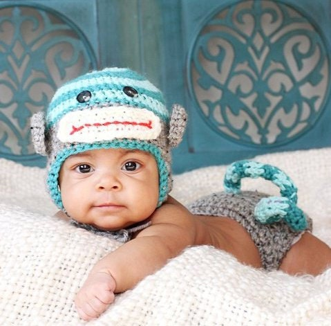 Crochet Monkey hat and diaper cover with by DarlingBabyDesigns
