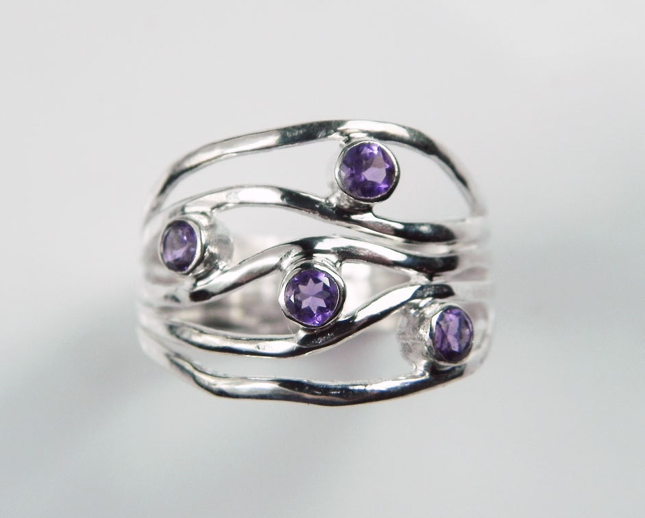 Amethyst Ring - Purple Wave Gemstone Ring - Amethyst February Birthstone - Unique Artisan Gemstone Jewelry - Sterling Silver Ripple Ring - FantaSeaJewelry