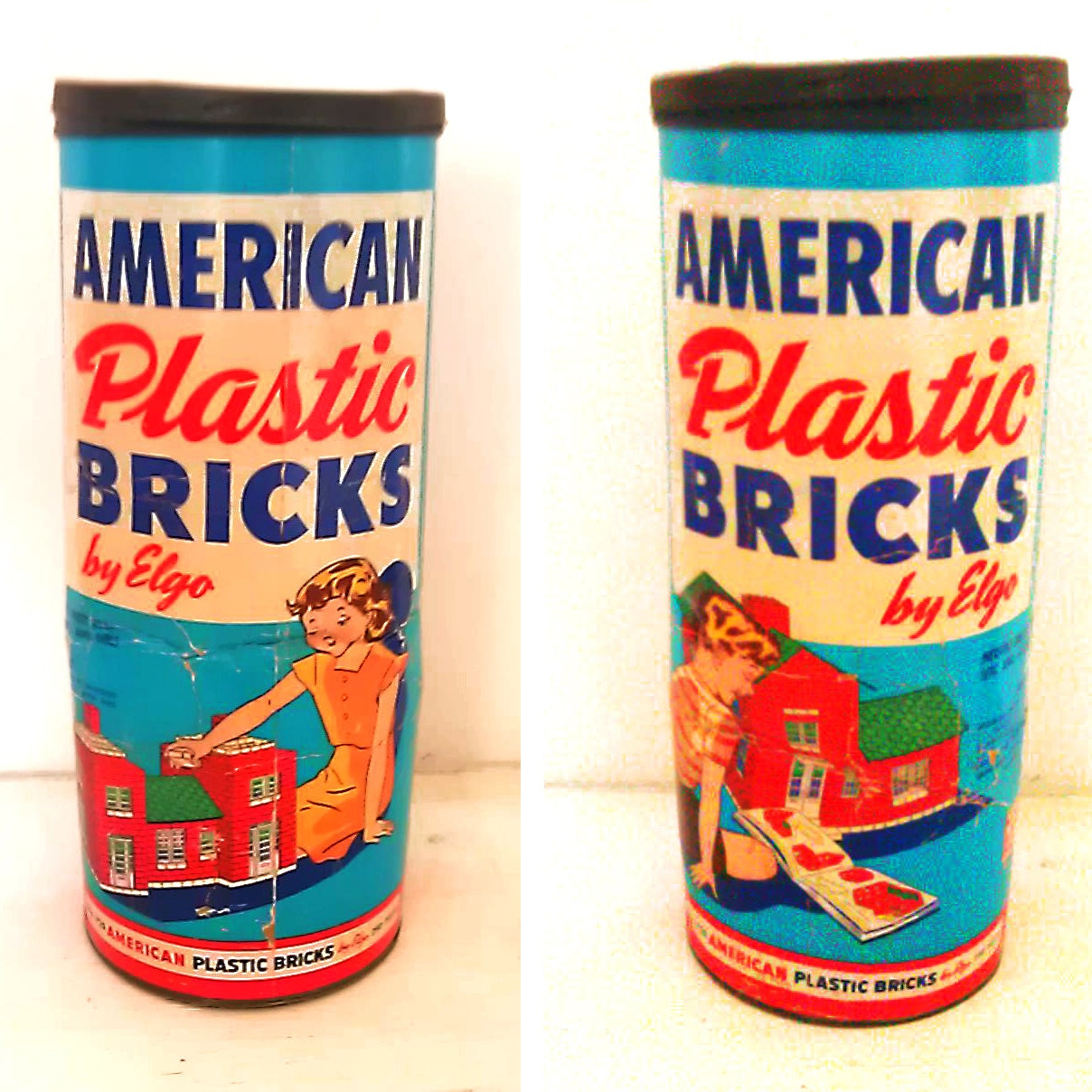 Vintage American Plastic Bricks Red Brick Building Blocks by Elgo Container Cardboard Tube Metal lid Packaging - EddiesShoppe