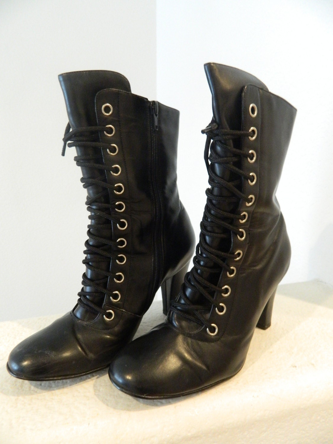 high heel vintage combat boots by fashiondynastiess on etsy