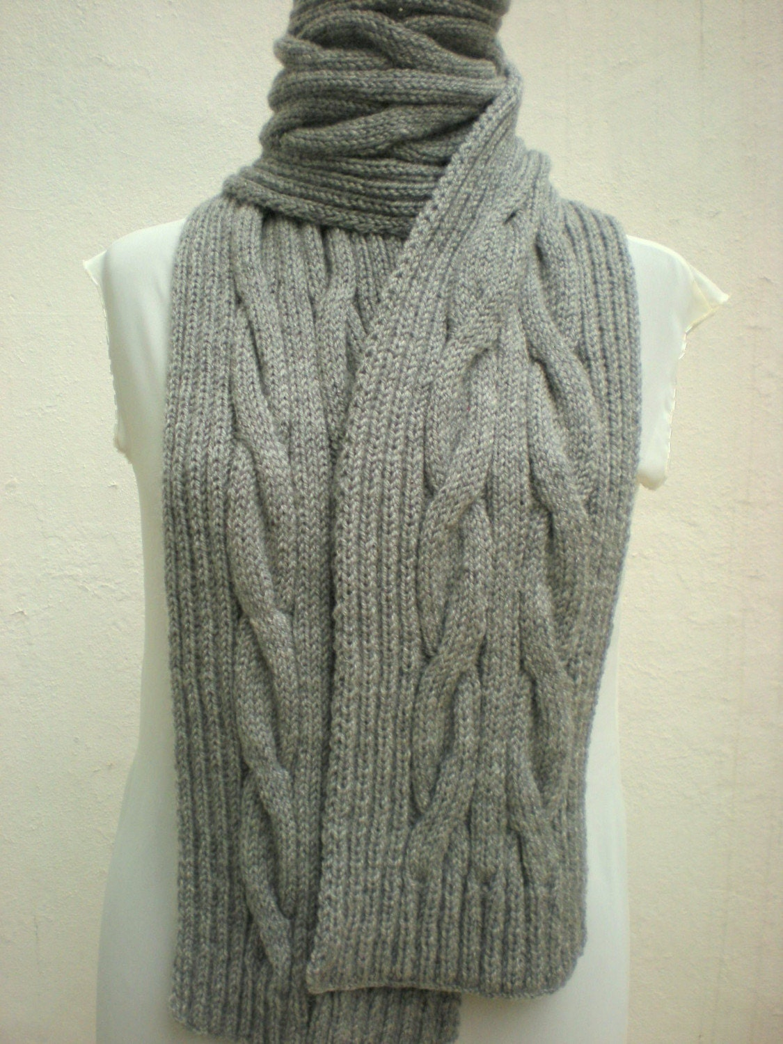 Aran Infinity Scarf Knitting Pattern : Scarf Cable Aran Knitting Hand Knitted by crochetbutterfly