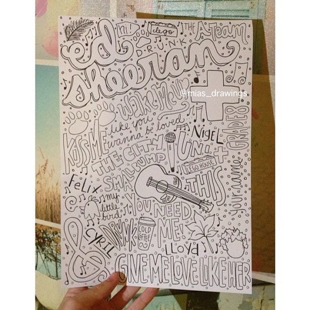 ed Sheeran Lyrics Drawing ed Sheeran Lyrics Collage