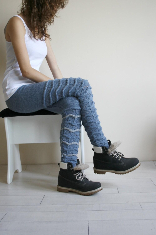 Free Shipping Christmas Gift Denim Blue Knitted Stretch Tight  Pants Gray ZigZag Leggings Legwarmer - FunnyBear