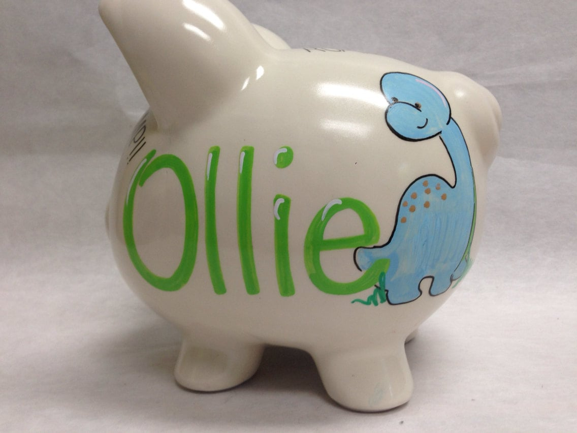 Personalized piggy bank chubby dinosaurs by - Dinosaur piggy banks ...