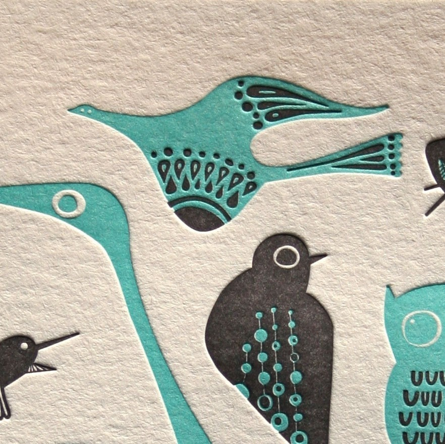 letterpress birds card.