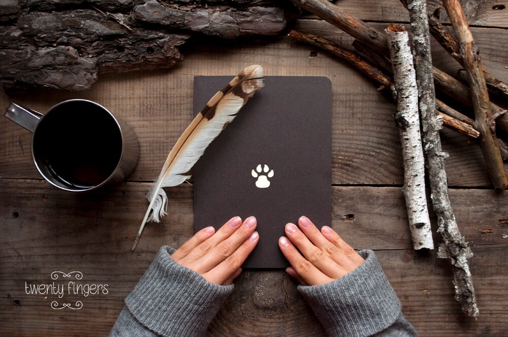 Forest notebook with a carved pattern - Paw - TheTwentyFingers