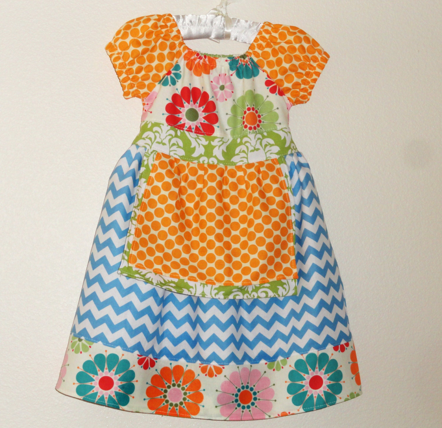 Girls Spring Peasant Dress with Ties Chevron stripes and dots - Amievoltaire