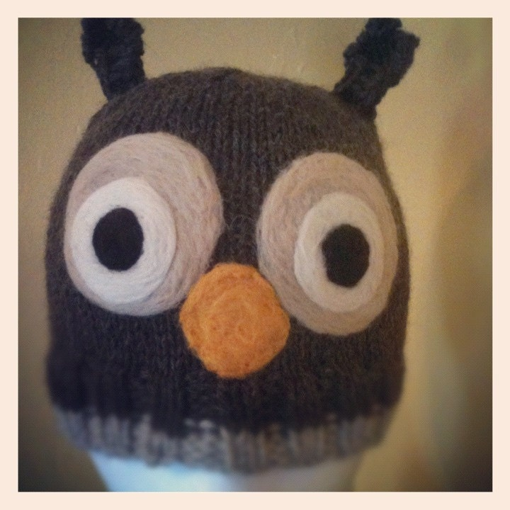 Knitwit Knits Owl Hat -- PATTERN-- PDF, 8 sizes available, emailed within 24 hours