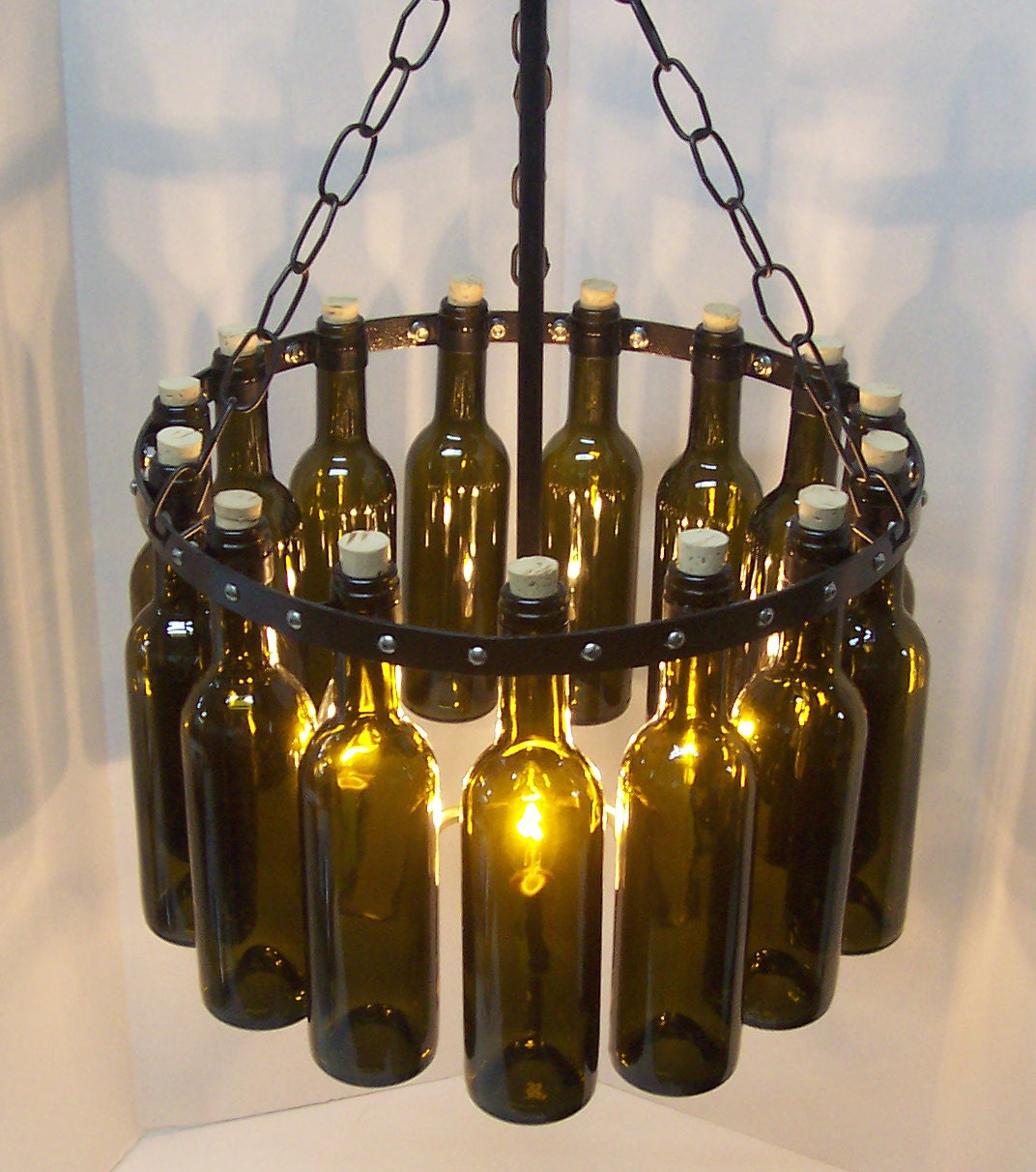 Items similar to green wine bottle chandelier brass drop for How to make your own wine bottle chandelier