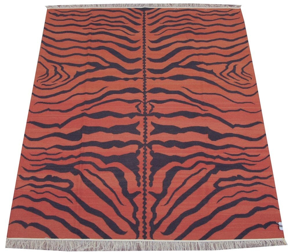 Dhurrie Rug 8x10 Tiger Print Orange By KilimRugs On Etsy
