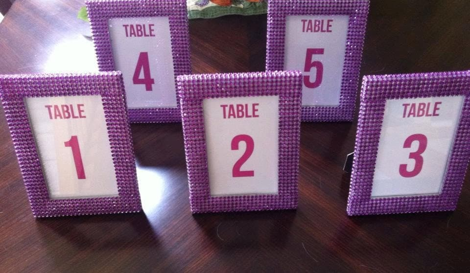 Set of 10 Purple Rhinestone 4 x 6 Photo Frames- Wedding or Special Event