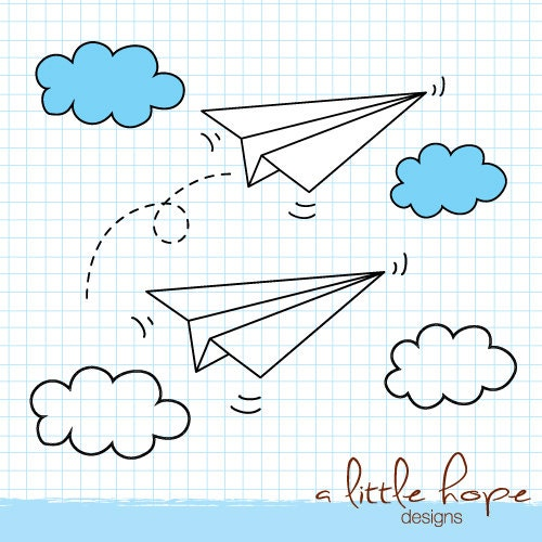 Paper Airplanes Digital Clip Art - PNG and EPS files instant download ...