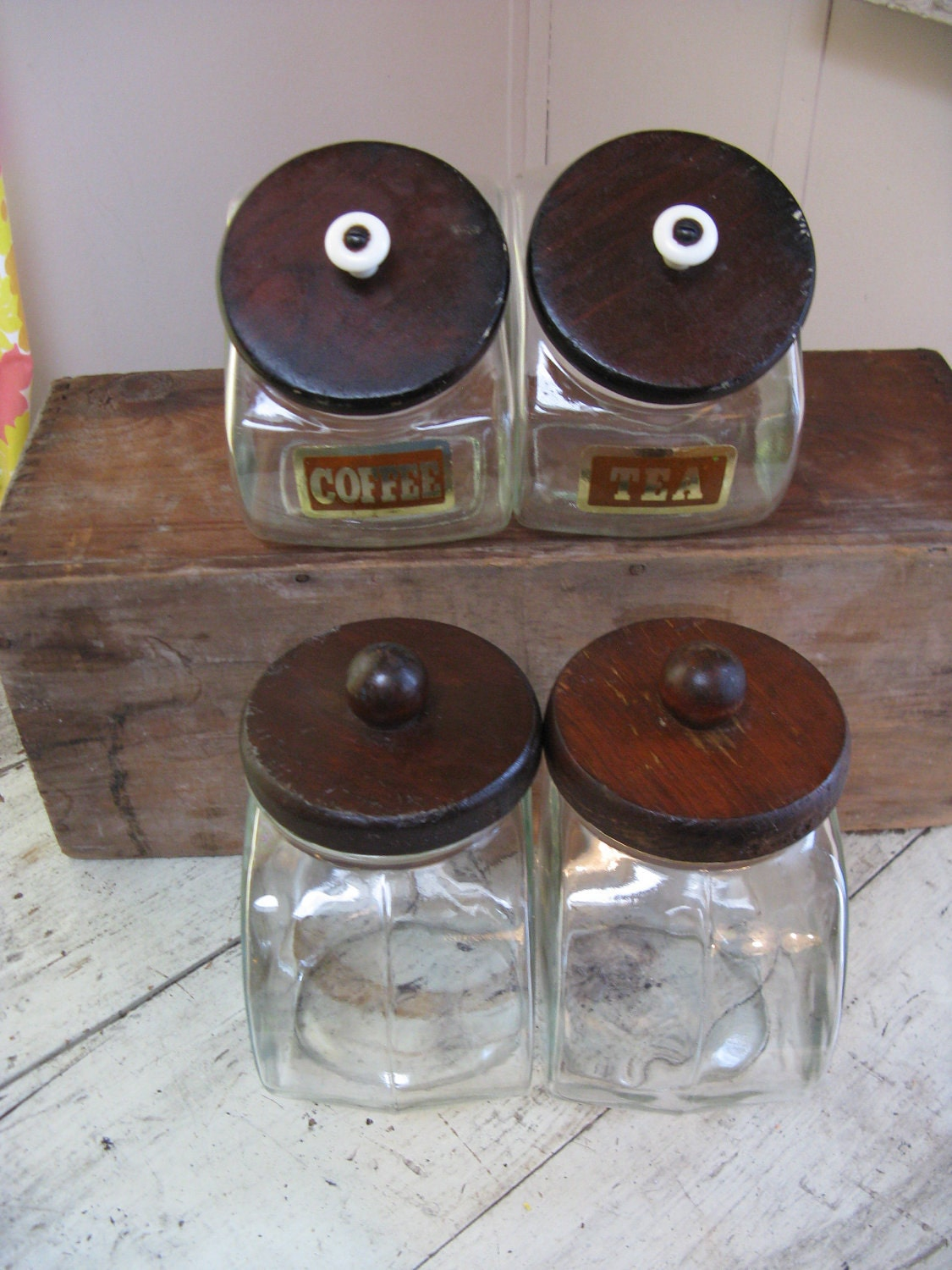 clear glass canisters set of 4 wooden lids by rivertownvintage