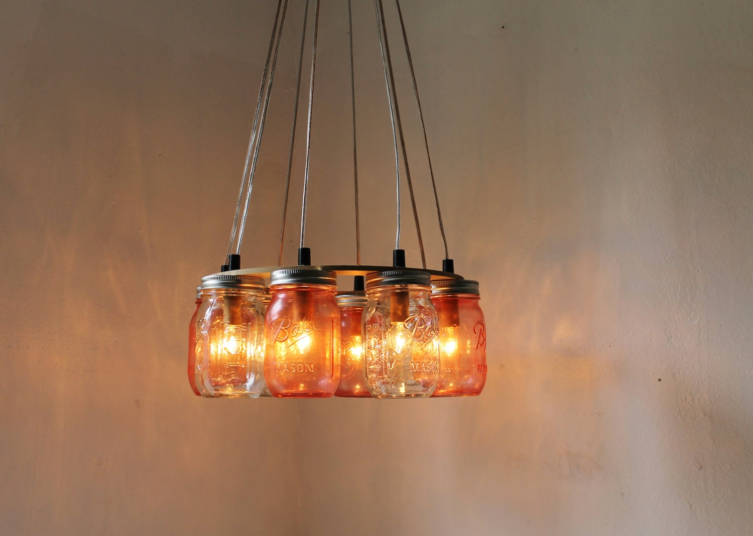 Pink Party Mason Jar Chandelier - Upcycled Hanging Mason Jar Lighting Fixture Direct Hardwire - BootsNGus Lamps Rustic Home Decor - BootsNGus