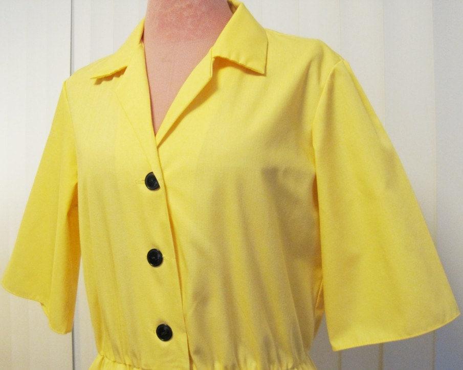 Vintage 1970s Sunny Yellow Shirtdress - CinderellaLollipop