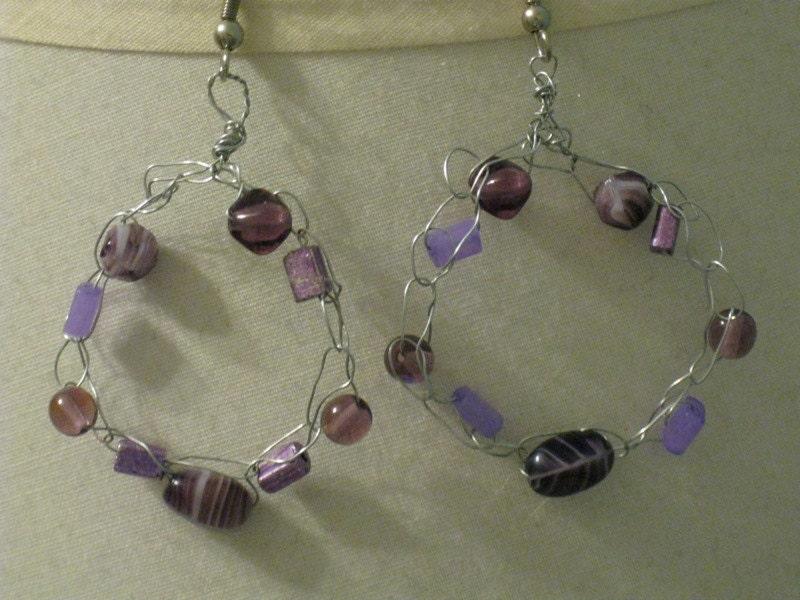 Crocheted Earrings--purple