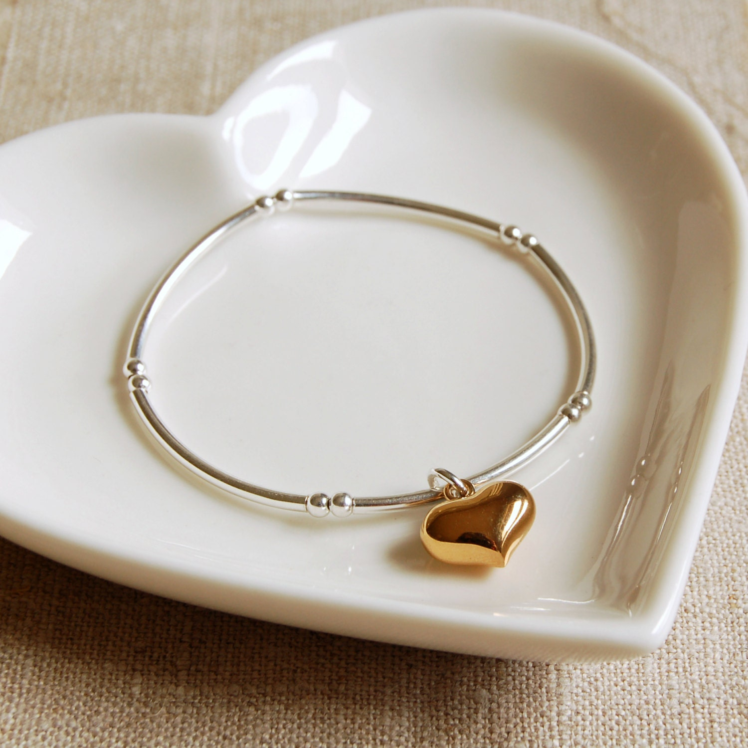 Sterling Silver Bracelet with Gold Heart Charm (BRA108)  Bridesmaid Birthday Anniversary Valentines Gift