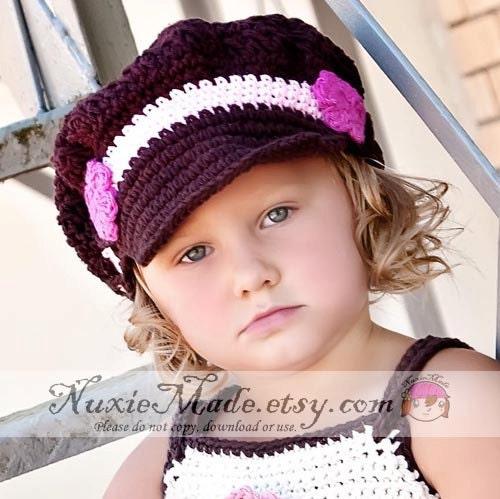 Girls Hat, Crochet Hat, Kids Hat, Newsgirl -Chocolate, Pink, Hot Pink ...