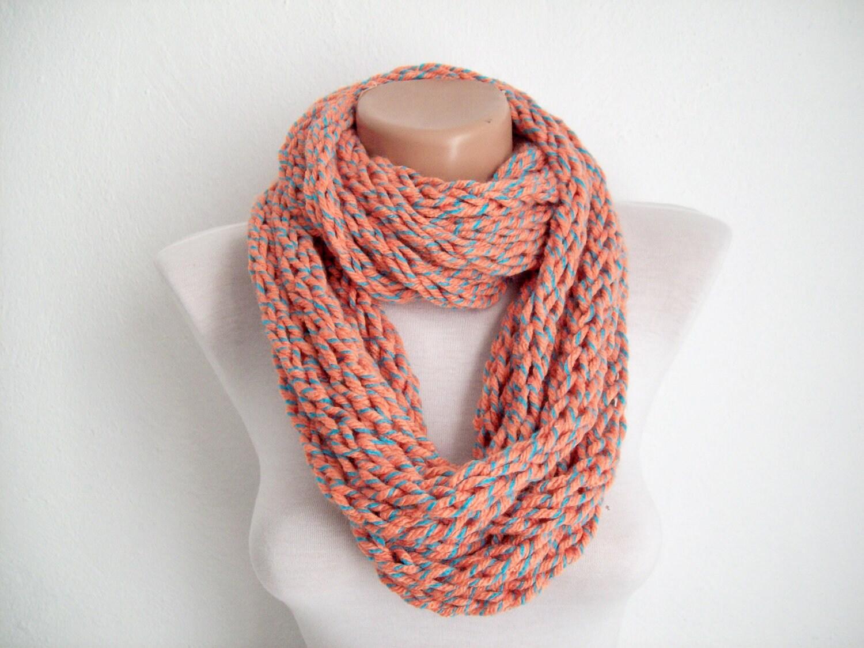 finger knitting scarf orange blue multicolor by scarfnurlu
