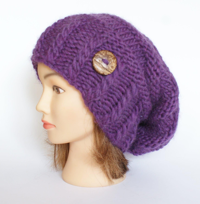 100% Wool purple hand knit slouchy beanie hat
