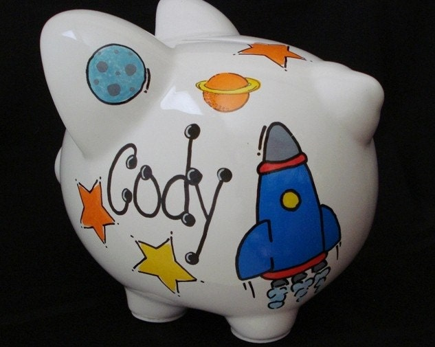 Items similar to rocket and space personalized piggy bank on etsy - Rocket ship piggy bank ...