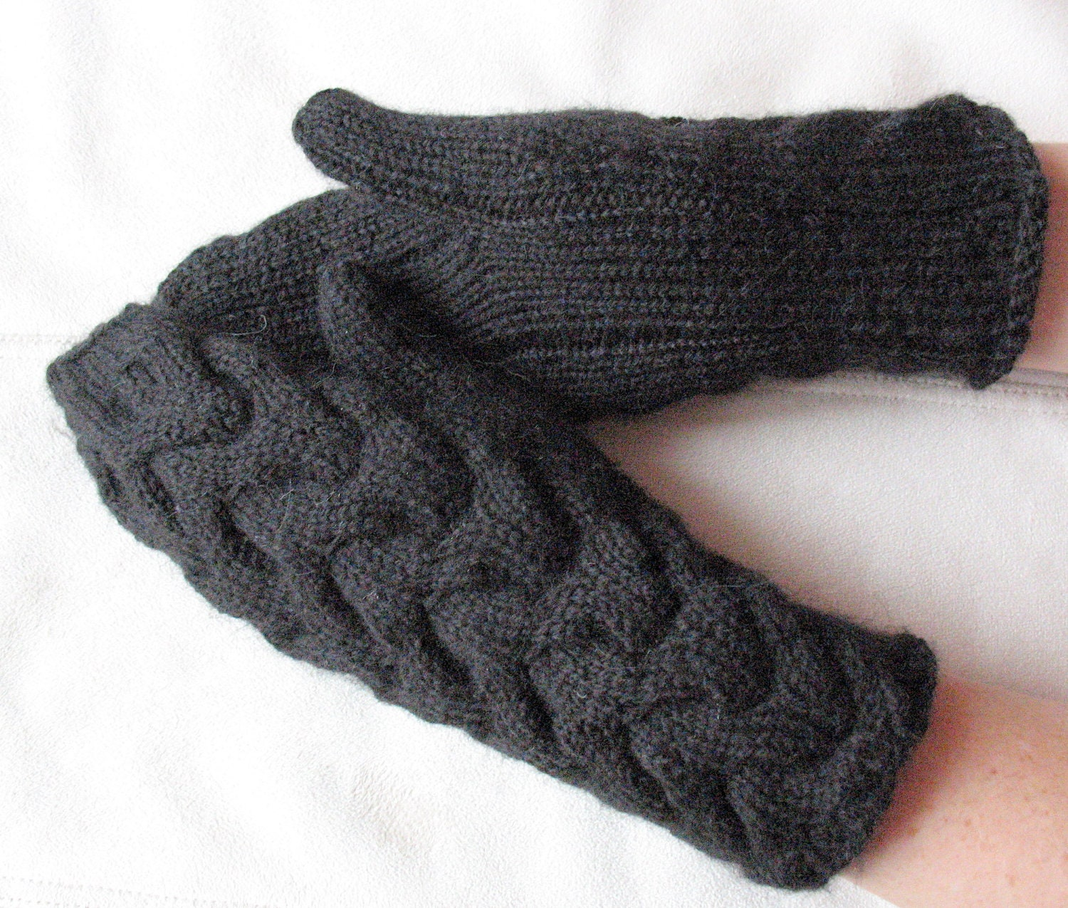 Knit Mittens Gloves Black Arm Warmers, Soft Acrylic Mohair - Initasworks
