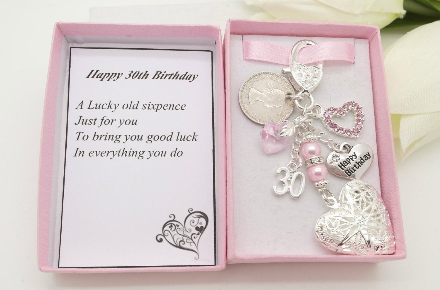 Personalised happy 30th birthday gift. Pink heart locket lucky sixpence charm keyring  gift box choice of heart and number charm