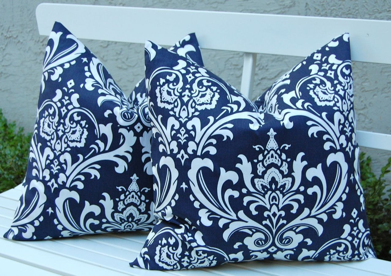 Euro Sham Throw Pillow Covers Navy Blue Damask by FestiveHomeDecor