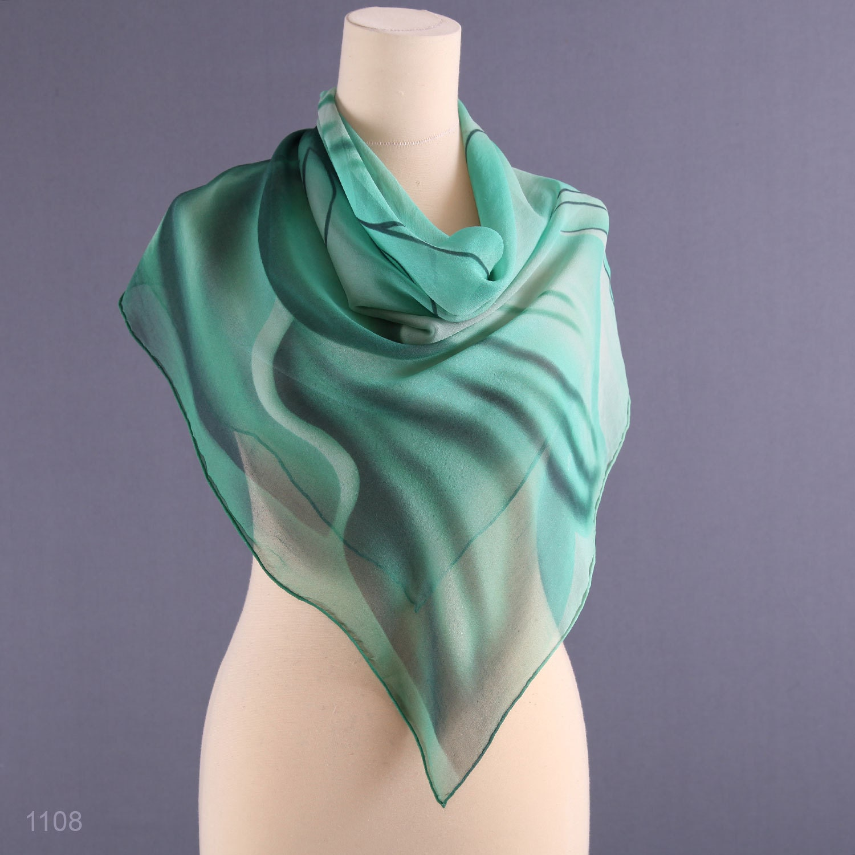 Vintage Agate Green Silk Scarf  Chiffon Silk Sheer Wrap Hand Rolled  Vintage Silk Scarves