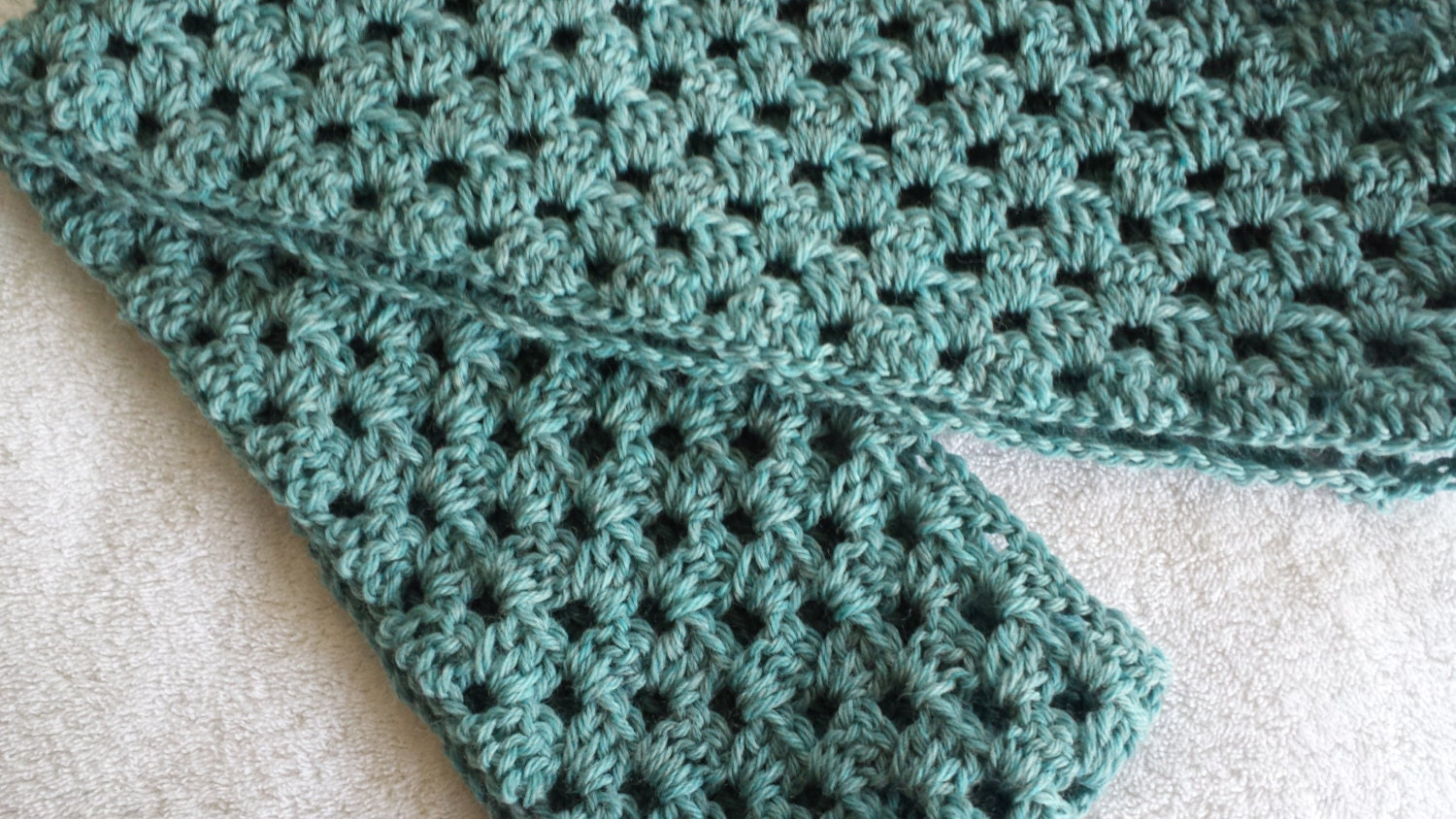 Infinity Crocheted Scarf Aqua - softtotouch