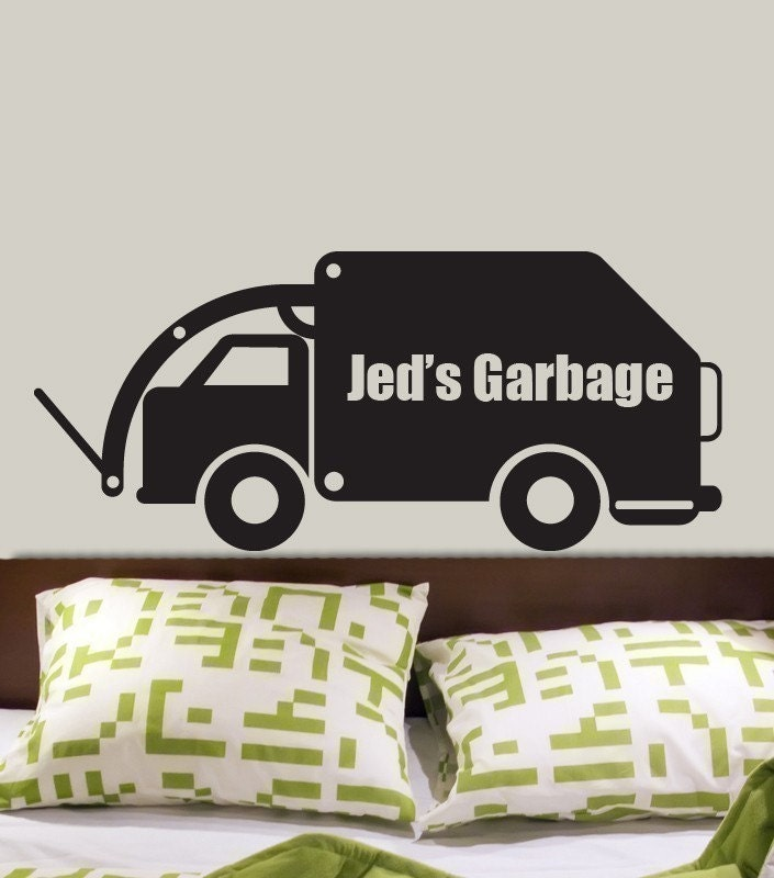 custom name garbage truck vinyl wall decal by decomodwalls