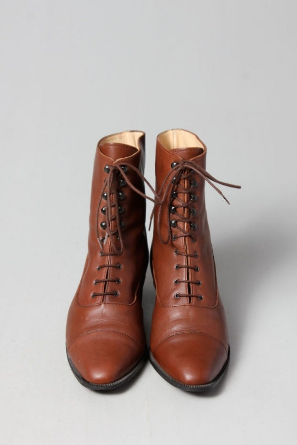 The Brown Nitis Vintage Lace-up ankle boots size 37.5 - ilovevintage