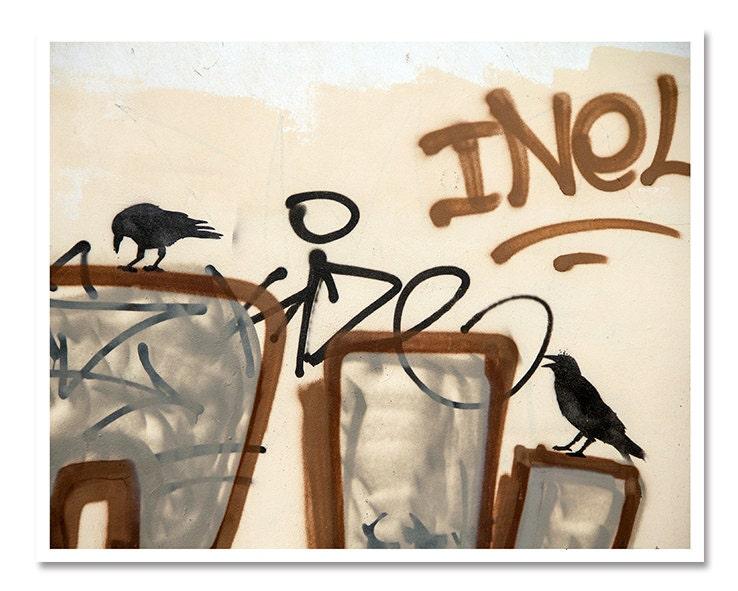 Beige Street art graffiti - urban photography, 8x10