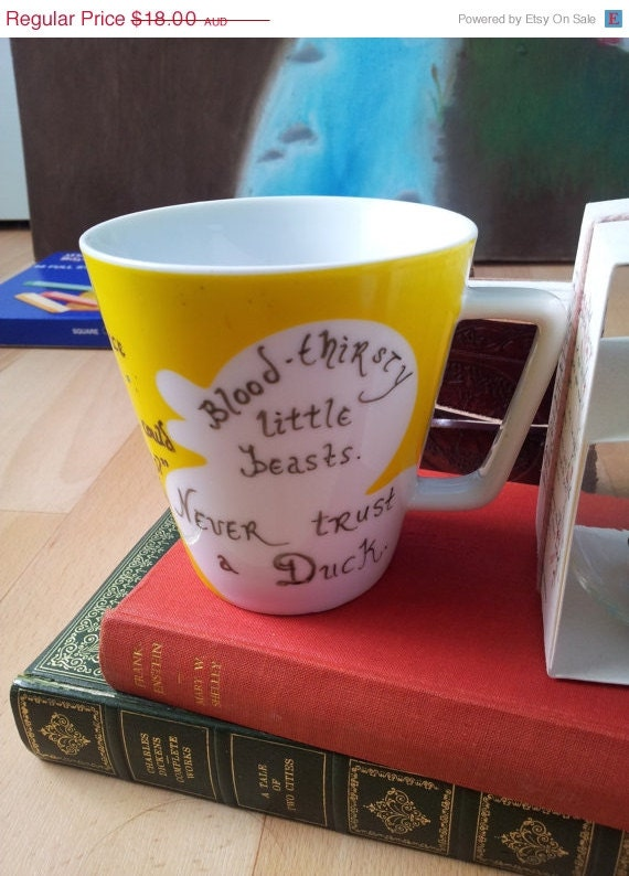 ON SALE Bloodthirsty little beasts. Never trust a duck. Will Herondale Clockwork Angel - The Infernal Devices mug Cassandra Clare OOAK