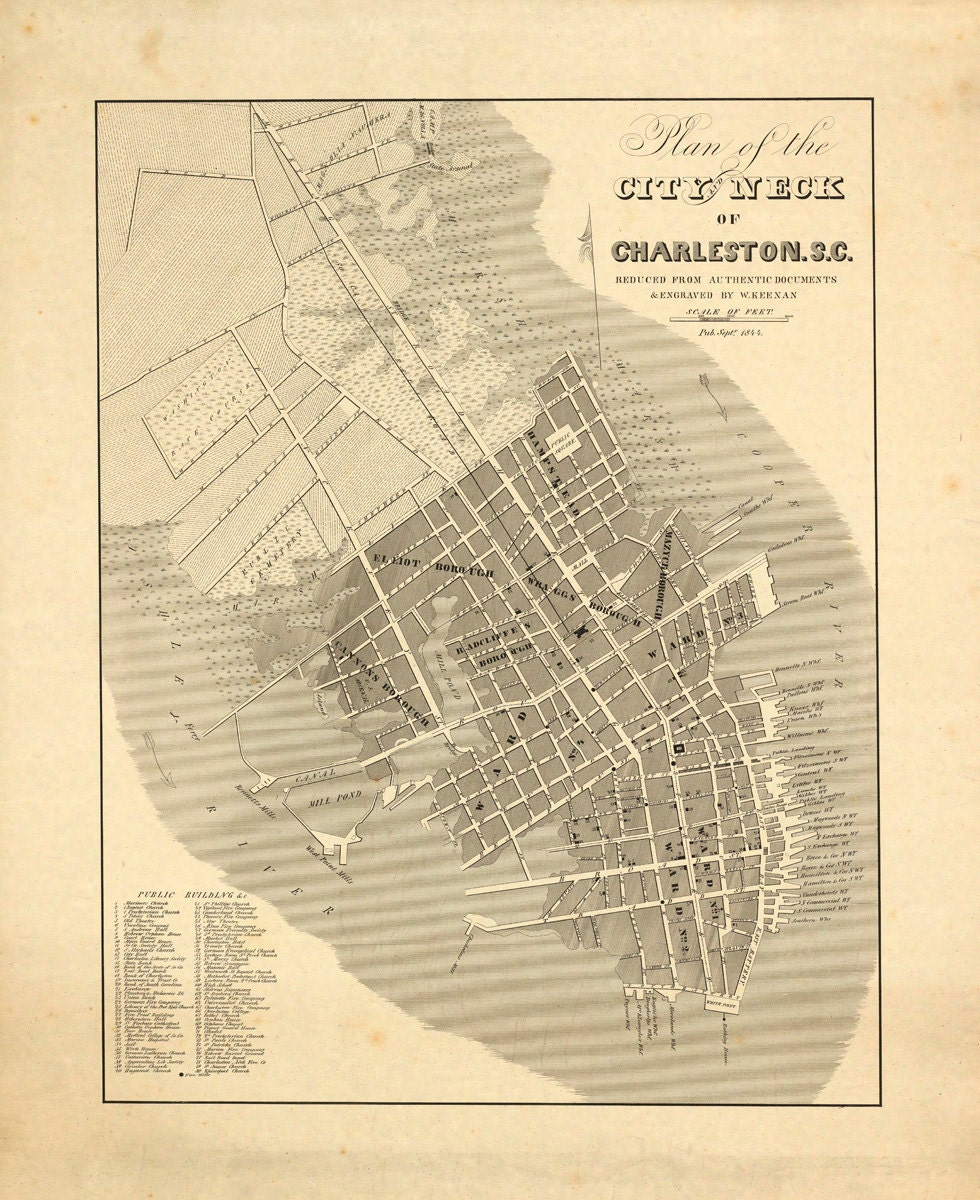 1844 Map Of Charleston SC By AtomicPhoto On Etsy
