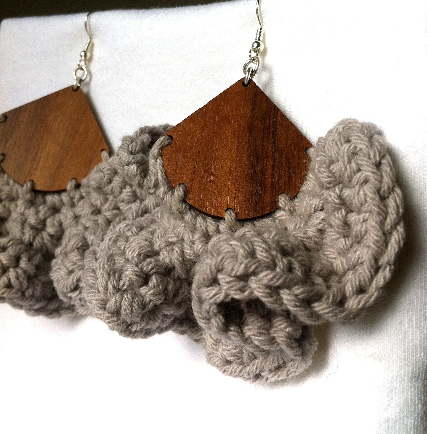PERFECT STORM - Walnut Wood & Grey Wave - Crochet Earrings